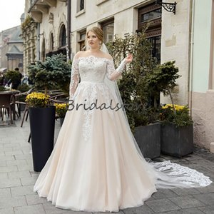 Vintage Champagne Beach Wedding Dresses Boat Neck Lace Long Sleeves Boho Wedding Dress 2020 Cheap Appliques Tulle Sweep Train Bridal Gowns