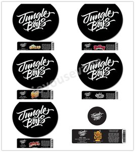 17 tipos Jungle Boy Stickers Etiquetas del tarro de 60 ml Tarro plástico 3.5G Cali estaño etiqueta tarro Gelato Orange Sunset Galletas Tarta de manzana plátano Puñetazo