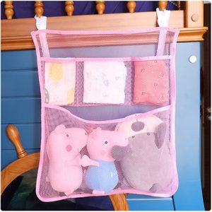 2020 new baby bed storage crib diaper crib bag baby bedroom diaper toy clothes hanging wall type mesh rope hanging bag