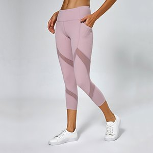 Women Mesh Panels Yoga Pants Naked-Feel High Waist Fitness Sport Cropped Leggings Squatproof Side Pocket Gym Crops Yoga Leggings