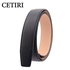 CETIRI أسلوب جديد 3.5cm واسعة Cowskin رجال أحزمة جلدية حقيقية لا وبدون أحزمة الخصر حزام بوكلي الجسم الشريط الأسود 110-130cm