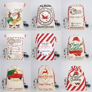 50*70cm Cartoon Christmas Elk Gift Bags Fashion Large Heavy Canvas Candy HandBags Creative Santa Drawstring Bag