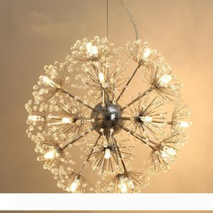 Dandelion Flower LED Pendant Lamp K9 Crystal Ball Star Suspension Handing Light Home Lighting Art Hotel hanglamp