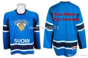 Hommes personnalisé SUOMI Équipe Finlande FIHG Swift réplique maillot bleu hockey - nom personnalisé Numéro de broderie sur Sewn XXS-6XL
