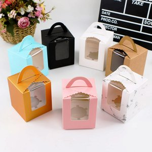 Assorted Pure Color Single Cupcake Boxes Portable Handle Mousse Cake Cookie Holder Wrapper Wholesale