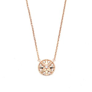 Full diamond necklace with 18K Gold Plated lady compass full diamond necklace