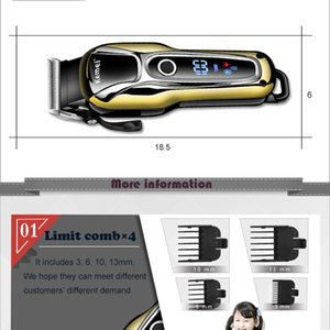 Kemei Hair Trimmer Cordless Electric Trimmer Rechargeable Hair Cutter Machine Professional Lcd Display Hair Clipper Km 1990 38D zlhome ZkPQm