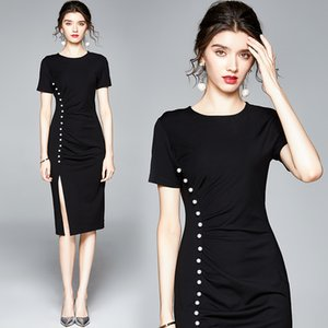 Temperament Lady Dress Short Sleeve Beaded Business Dress Fashion Sexy Noble Women Dresses Party Evening Dress