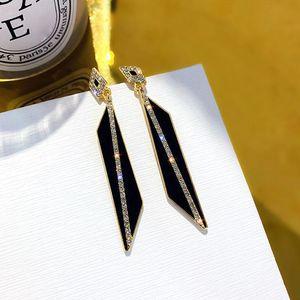 Fashion Geometric Rhomboid Dangle Earrings for Women Gold Crystal Earrings Hanging Korean Geometric Earings Jewelry 2020 New