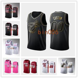 Пользовательские МайамиВысокая температураМужчины Женщины Kid 100% вышивка ГОРОДNBA Ассоциация Джерси баскетбола Заявление Icon S-6XL