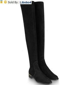 libobo4 1A4DLM SKYLINE FLAT THIGH BOOT long Booties Women Boots Loafers Ballerina Flats Booties Espadrilles Wedges Slides Thongs