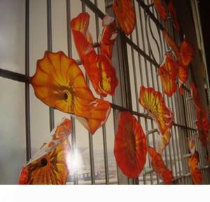 Orange Red Fancy Pretty Hand Blown Wall Decor Glass Plates, Murano Art Wall Hanging Custom Colours Plate
