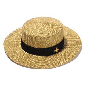 2020 new Woven Wide-brimmed Hat Gold Metal Bee Fashion Wide Straw Cap Parent-child Flat-top Visor Woven Straw Hat