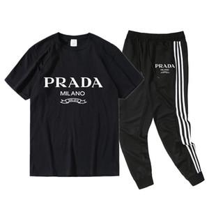 Prada mens concepteur t-shirts New 2020 Summer Set Survêtement Survêtement hommes Slim Vêtements en cours Lettre Kit de Luxe piste