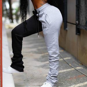 NCLAGEN Color Block Broderie Stacked Sweatpants Pour Femmes 2020 Patchwork Mode Pantalons Joggers Femme Femme Fitness Sweat Pant
