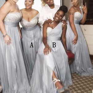 2020 Gümüş Arapça Tek Omuz Gelinlik Modelleri Boncuklu Pullarda Seksi Onur Elbise Düğün Elbise Of Modest konumundadır Hizmetçi