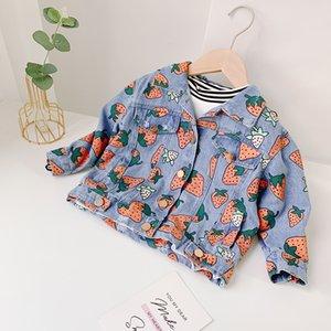 여자 디자이너 재킷 어린이 2020 가을 패션 전체 인쇄 딸기 Jacketrs 어린이 귀여운 Rolita 스타일 데님 자켓 여자 코트