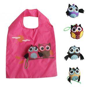 Ladies presente dobrável reutilizáveis 2018 bonito Forma Owl animal Folding saco de compras Eco-friendly Tote Bag Shoulder Viagem portátil Bag