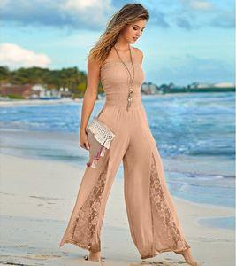 Women's Sleeveless Jumpsuit Wide Leg Romper Ladies Casual Slim Playsuit Holiday Party Wear Summer