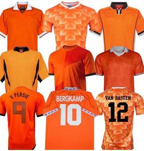 Retro 1988 Hollanda Futbol Jersey 12 Van Basten 00 02 98 1994 Hollanda Retro formalarını BERGKAMP 96 Gullit Rijkaard Davids