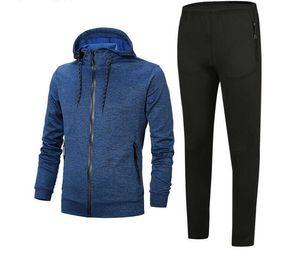 New Tracksuit 2019 Best Version Spring Autumn Mens Fashion Tracksuits Print Zipper Suit Tops+Pants Mens Casual Sweatshirt Sport Suits