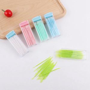 50pcs box Dental Floss Interdental Toothpick Cleaning Brush Teeth Stick Dental Oral Healthy Toothpicks Floss Pick Double Head LJJP124