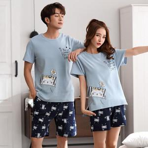 Couples sleepwear Women Men summer Cartoon short Sleeve Pullover Pants Pajamas Set cotton Casual Lounge Wear New M L XL 2XL 3XL1
