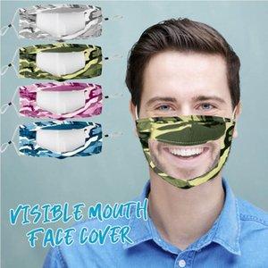 Камуфляж глухонемой Маски ПЭТ губ Маска Анти-туман Прозрачные маски хлопок маска Camo Видимый рот Face Cover CCA12329 50шт