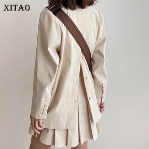 XITAO Apricot Simple Blazer Women Loose Fashion Elegant Korean Style Single Breasted 2020 Autumn Black Women Clothes ZP1838