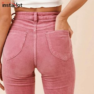 InstaHot High Waist Flare Boot Cut Pants Women Autumn Winter Pockets Textured Casual Sweatpants Plain Solid Clothing Female T200714