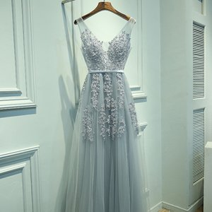Sexy V-neck Evening Dress Robe De Soiree 2020 High Quality Gray Tulle With Appliques Evening Dresses Long Dress Vestido De Festa Y190710