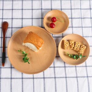 Bois Rond Hôtel Plateau Hêtre fruits Assiette Pizza Plat enfants Bowl Cup Pad Dessert Assiette Sushi Platter Plat Plateau Vaisselle DWC41
