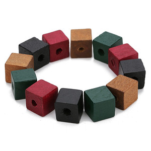 Mayforest 50pcs Big Hole Natural Wooden Beads 12mm 14mm Red Green Color Square Shape Spacer Box Wood Beads for Diy Jewelry Makings