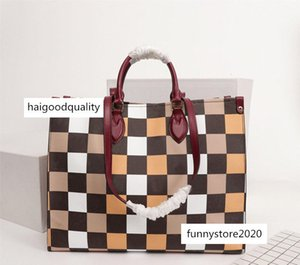 44992 New Hot Sale High Quality Handbags Square Onthego Women Tote Bags Genuine Leather Evening Shoulder Fashion Canvas Shopping Bag