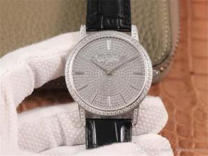 81579 / 000G-9274 Montre de Luxe 9015 Movimento intarsiato 660 Swarovski di cuoio di cristallo di diamante cinturino vigilanza del diamante