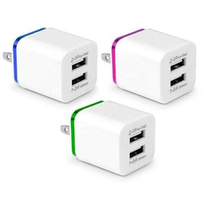 أفضل نوعية المعدن المزدوج USB المكونات الجدار الولايات المتحدة 2.1A AC محول الطاقة الجدار شاحن التوصيل 2 منفذ لمذكرة سامسونج غالاكسي LG وحي هواوي XIAOMI