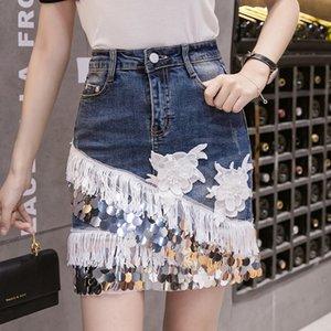 vaina de moda borla de lentejuelas de 20.220 nuevas mujeres del verano falda apretada denim skirthigh cintura falda de mezclilla para las mujeres