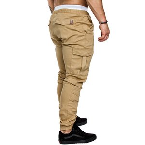 ASALI Solid Sweatpants Men Joggers Multi-pocket Pants Autunm 2020 New Fashion Long Trousers Male Elastic Waist Men's Sportswear CX200728