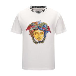 Мода роскошных дизайнеров Мужчины футболки Для Мужские футболки с буквами лето с коротким рукавом Мужские футболки Medusa T Shirt Одежда M55