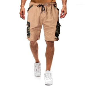 Drawstring Natural Color Shorts Summer Mens Knee Length Shorts Fashion Camouflage Patchwork Shorts with Pocket Casual