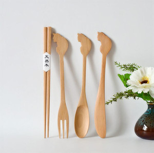 Estilo japonés de Zakka animal de la historieta de madera cuchara de madera de haya Tenedor Cuchillo palillos del vajilla del vajilla del Estudiante Viajes de vajilla