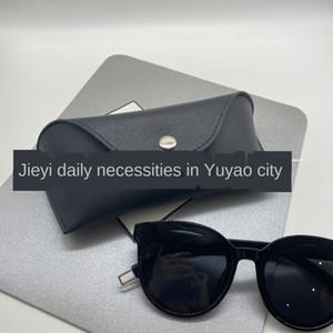 soleil cas à la main en cuir étui à lunettes de soleil bouton portable boîte lunettes de soleil en cuir boîte sac souple