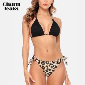 Bikini donne Set Leopard Print Swimsuit Halter Swimwear cinghietti laterale bendato sexy costume da bagno Beachwear Push Up