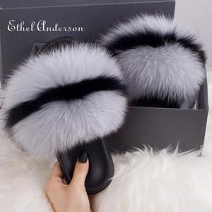 Better Quality Real Raccoon Fur Slides Furry Outdoor Slipper Women Home Woman Hot Fluffy Flat Sandal Summer New Regular Size