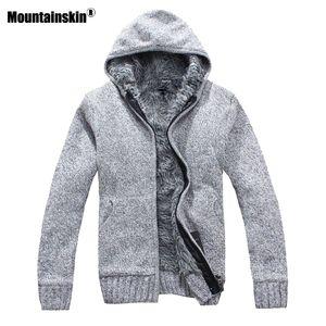 Mountainskin Autumn Winter Men's Thick Jackets Casual Warm Hoodies Fur Inside Outwear Mens Hooded Coat Thermal Sweatshirt SA505 MX200711