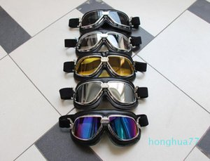 luxury- Off-road motorcycle goggles dustproof windshield outdoor goggles riding glasses black leather silver frame