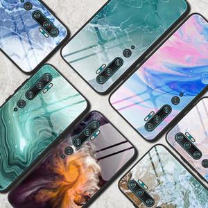 Case for Xiaomi MI 10 Pro 9 SE T9 redmi 8 8A Nota 8 T8 K30 Pro Marble Padrão de vidro temperado tampas traseiras