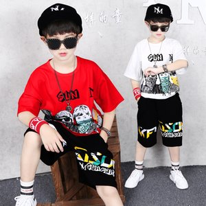 Boys T Shirt + Short Pants Suit Style Hip-hop Dance Sports Tracksuit Fashion Sport Wearing Print Children Casual Short-sleeved