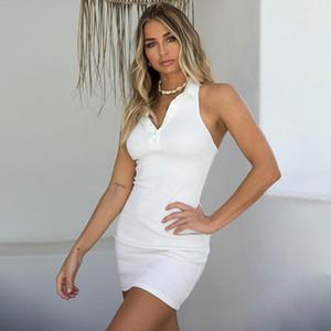 V шея Bodycon платья тощего летних женщины платье Sexy Backless Холтер платье Polo Button