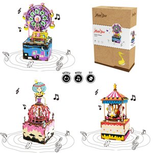 Robotime DIY 3D Wooden Carrousel Ferris Wheel Puzzle Game Assembly Rotatable Music Box Toy Gift for Children Kids Adult AM402 MX200414